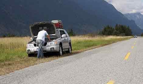 coche averiado en carretera