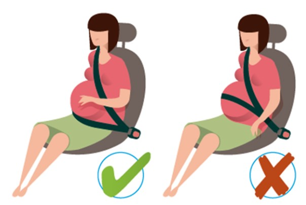 La forma más segura de colocarse el cinturón de seguridad una embarazada
